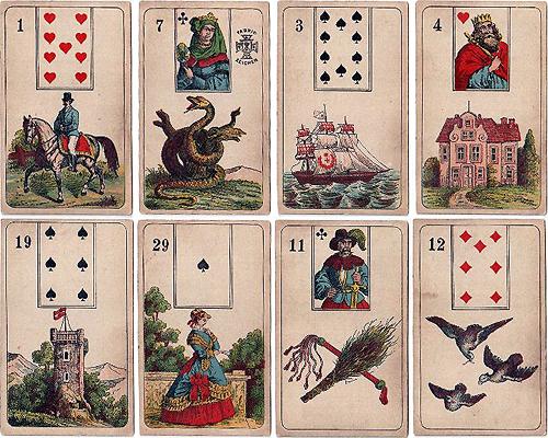 mlle lenormand fortune telling cards manufactured by vereinigte stralsunder- stralsund 1890s