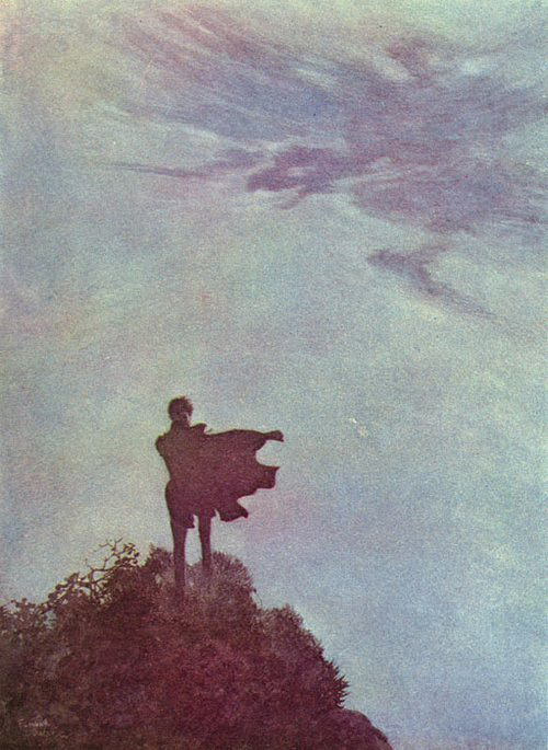 edmund dulac-the raven and other poems of edward allen poe-alone
