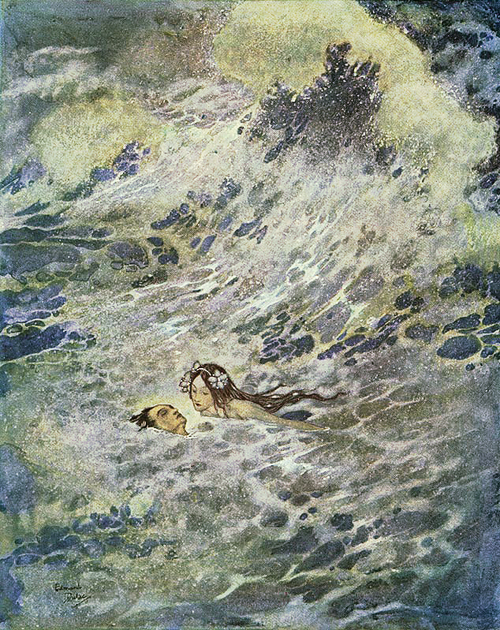 edmund_dulac-the little mermaid-she saved the prince